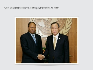 Amb. Omoregie with UN Secretary-General Ban Ki-moon